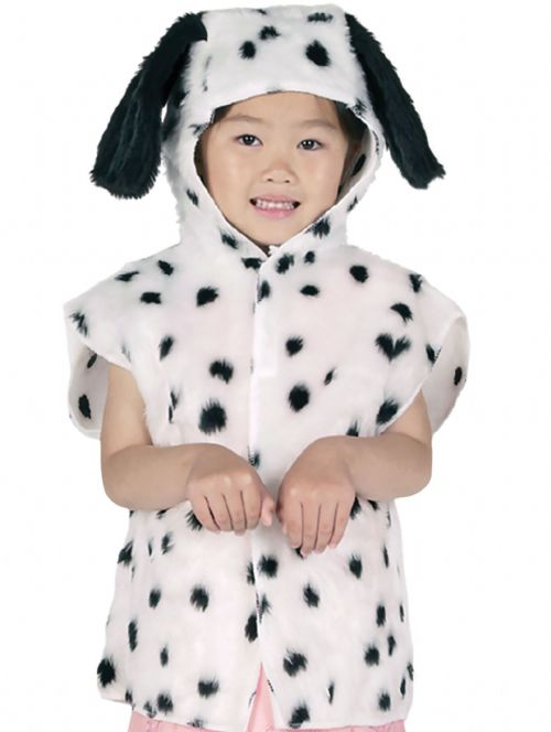 Childs Dalmation Fur Tabard Costume 101 Dogs Animal Cartoon Fancy Dress Outfit